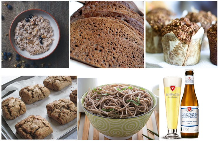 Buckwheat porridge, bread, muffin, scones, noodles and beer.