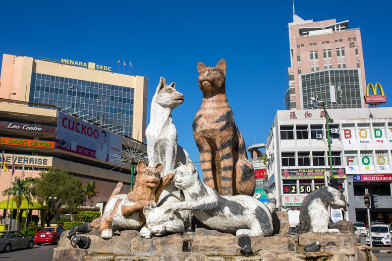 Cats monument at downtown Kuching