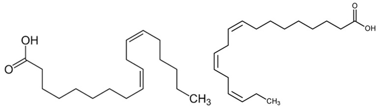 Chemical structure of linoleic acid (left, omega-6) and linolenic acid (right, omega-3)