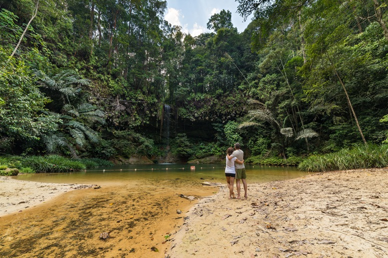 Couple watching a stunning multicolored natural pool in the thick rainforest of Lambir Hills National Park, Borneo, Malaysia.