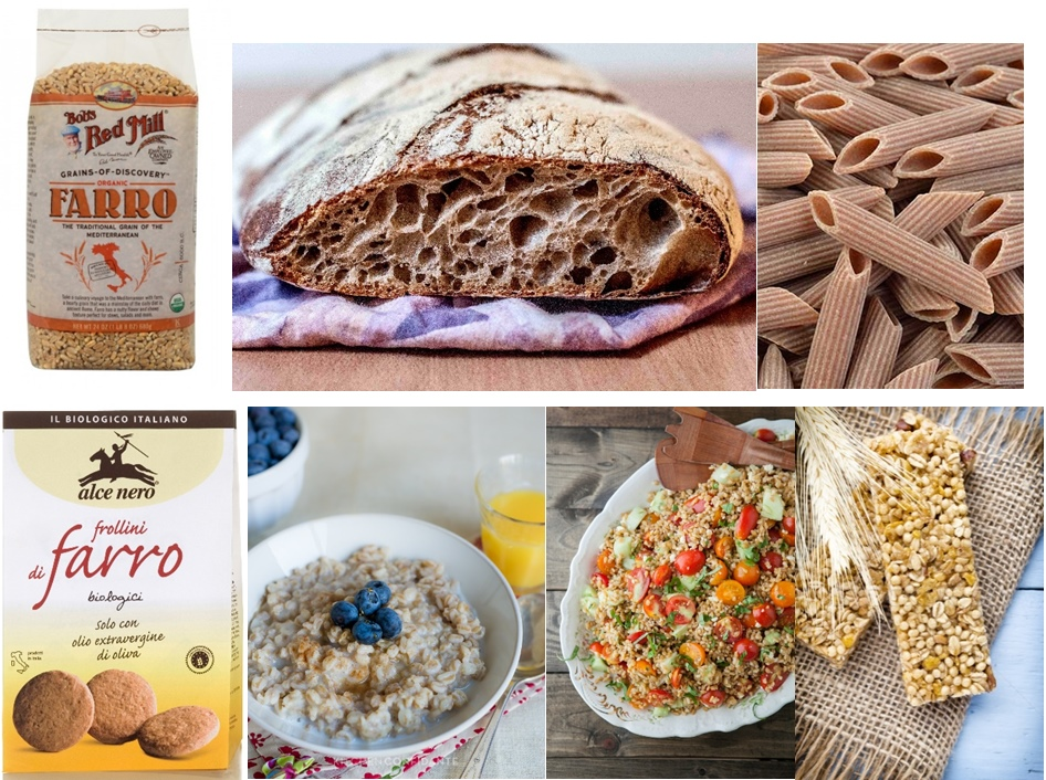 Farro wheat, bread, pasta, biscuit, porridge, salad and cereal bars