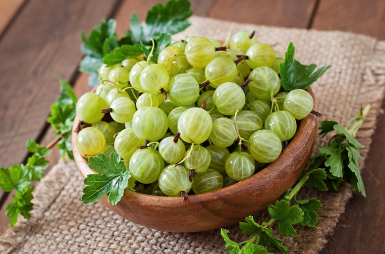 Gooseberry in Wooden Bowl