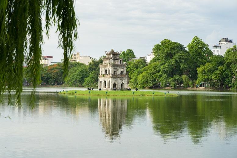 Hoan Kiem lake (Sword lake, Ho Guom) in Hanoi