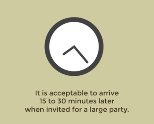 It is acceptable to arrive 15 to 13 minutes later when invited for a large party