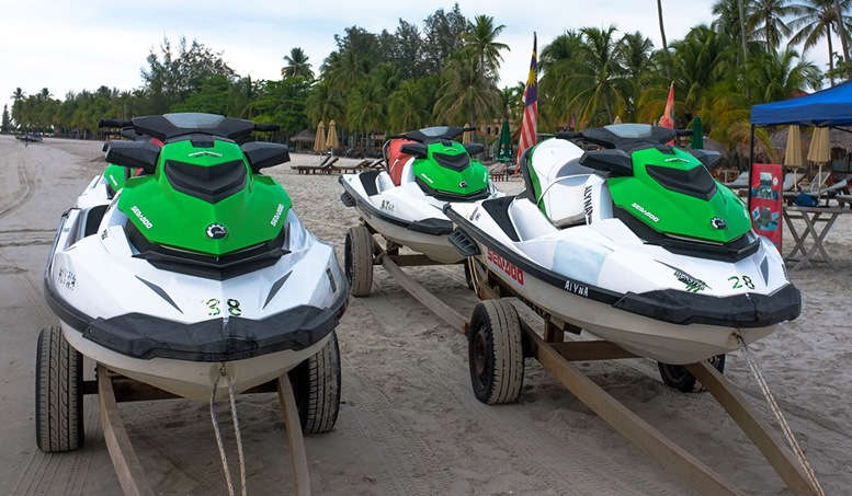 Jet Ski ready for rental to tourists at Cenang tropical beach, Langkawi