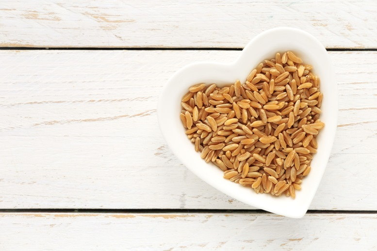 Kamut grain in a heart shaped bowl