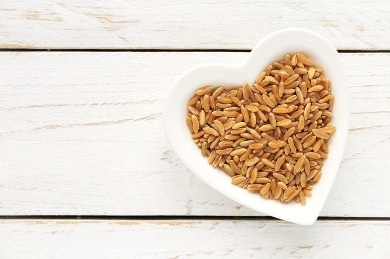 Kamut grain in a heart shaped bowl
