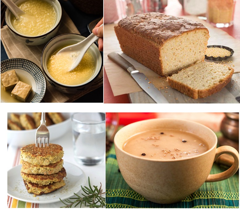 Millet porridge, bread, cakes, and beverage