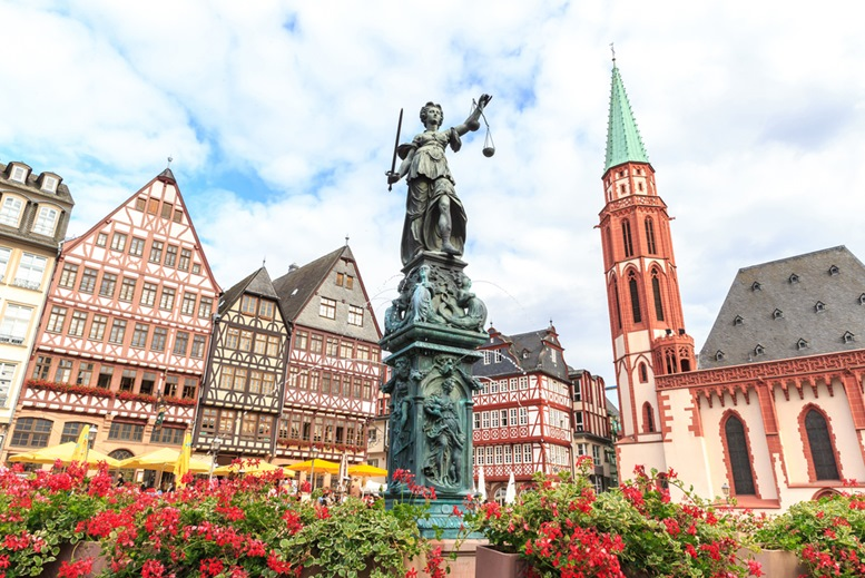 Old town square romerberg with Justitia statue in Frankfurt