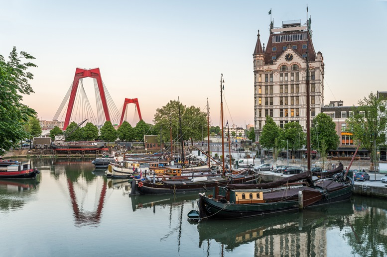 Rotterdam City, Oude Haven oldest part of the harbour, historic ship yard dock, Old Ship, Openlucht Binnenvaart Museum, Haringvliet and the Willemsbrug bridge