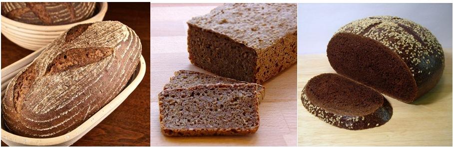 Rye bread, rye sour dough bread, and pumpernickel.