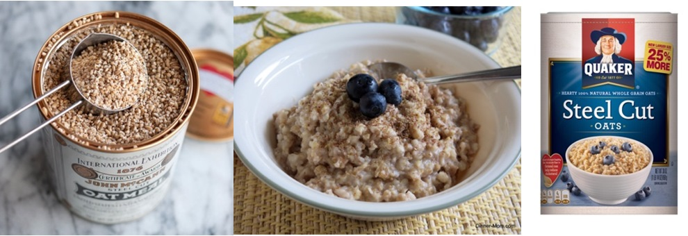 Steel-cut oat, porridge and commercial cereal