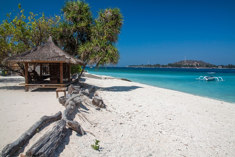 Tropical scenery of Gili Meno island