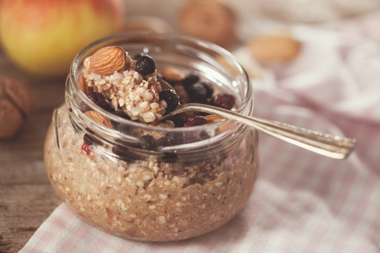 Vegan buckwheat porridge with Nuts and Berries